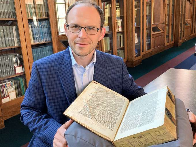 Photo of Neil Weijer, Curator of the Harold and Mary Jean Hanson Rare Book Collection